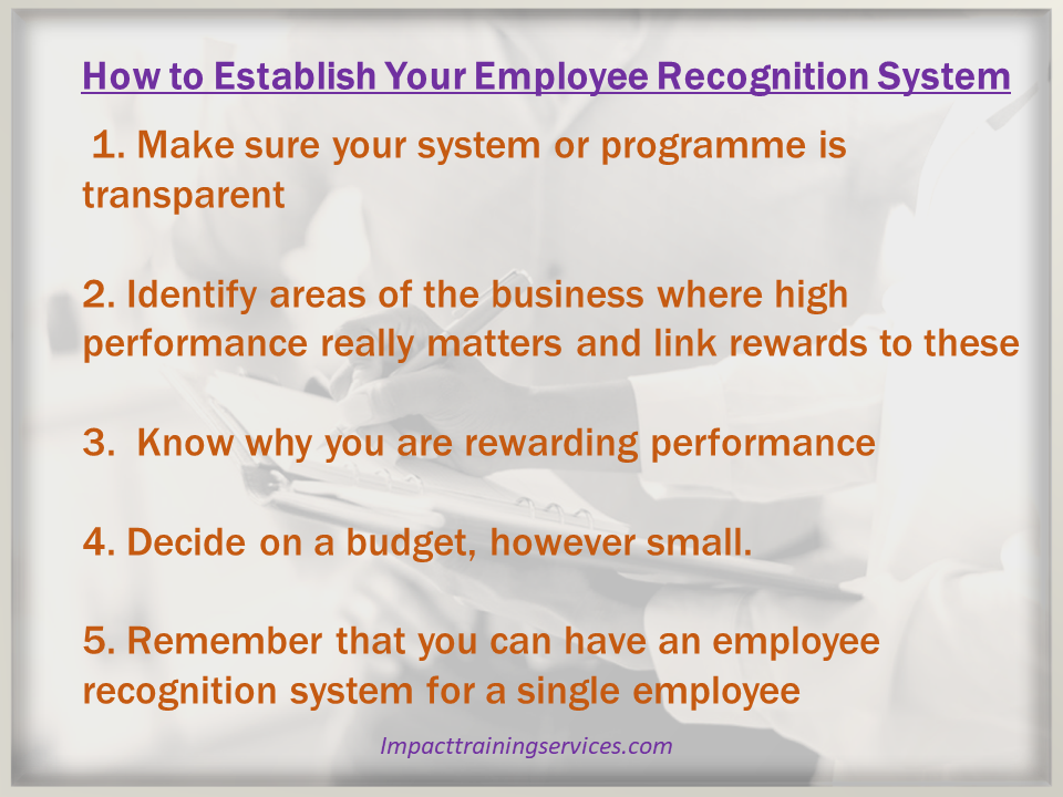 This image lists 5 steps to implement an employee recognition system